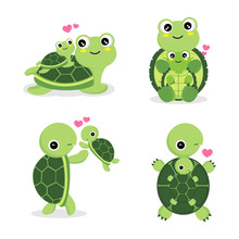 Mom Turtle And Baby For Mother's Day Concept.