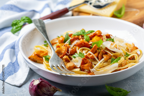 Linguine with fried wild chanterelles. Wallpaper Mural