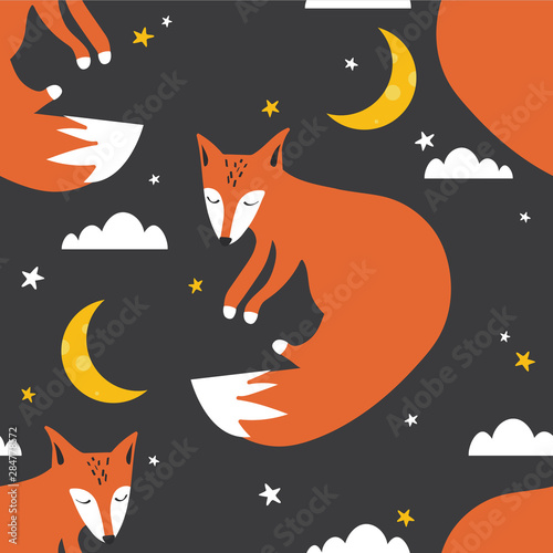 Colorful seamless pattern with foxes, moon, stars. Decorative cute wallpaper, good for printing. Overlapping colored background vector. Design illustration with animals, night sky