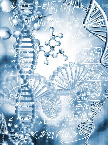 Leinwand Poster abstract image of dna chain on blurred background with mathematical formulas