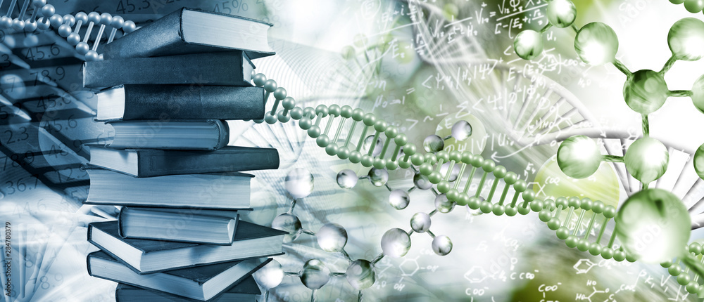 Fototapeta Stack of books depicted on DNA background closeup