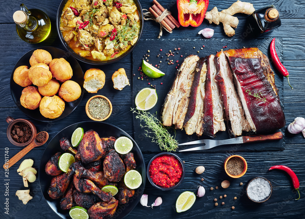 set of caribbean dishes on a table