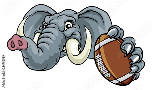 An elephant American Football sports animal mascot holding a ball Canvas Print