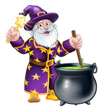 Wizard Cartoon Character Stirr...