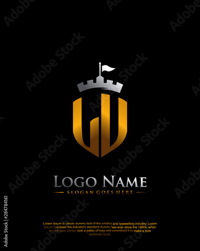 LU letter with shield style logo template vector Fototapete
