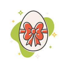 Easter Egg Ribbon Bow Filled Outline Vector Icon