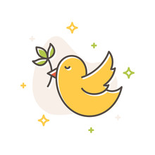 Bird With Spring Flower Filled Outline Vector Icon