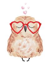 Cute Owl In Love. Watercolor O...