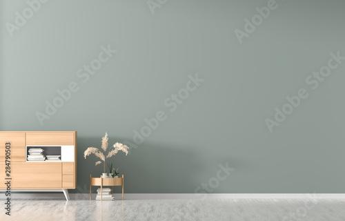 Fototapeta Empty wall mock up in Scandinavian style interior. Minimalist interior design. 3D illustration. obraz