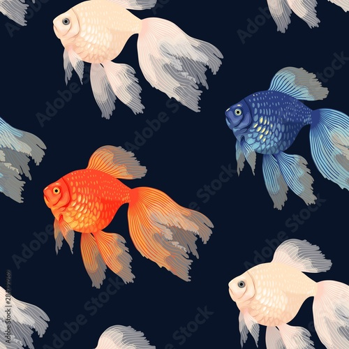 Fotomural Vector seamless pattern with high detail goldfish