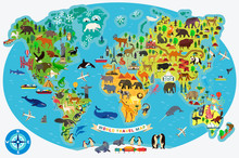 Animal Map Of The World For Ch...