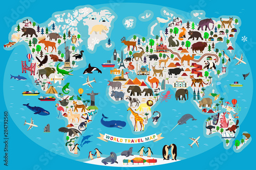 Fototapeta mapa świata dla dzieci  mapa-zwierzat-swiata-dla-dzieci-i-dzieci-wektor