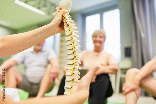 Fotomural  Physiotherapeut erklärt Ursache für Rückenschmerzen