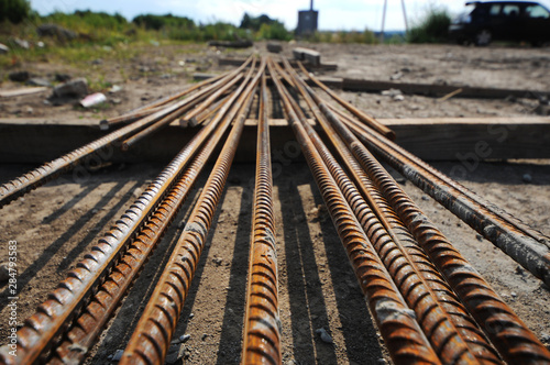Building armature are located in the warehouse of metallurgical products Canvas Print
