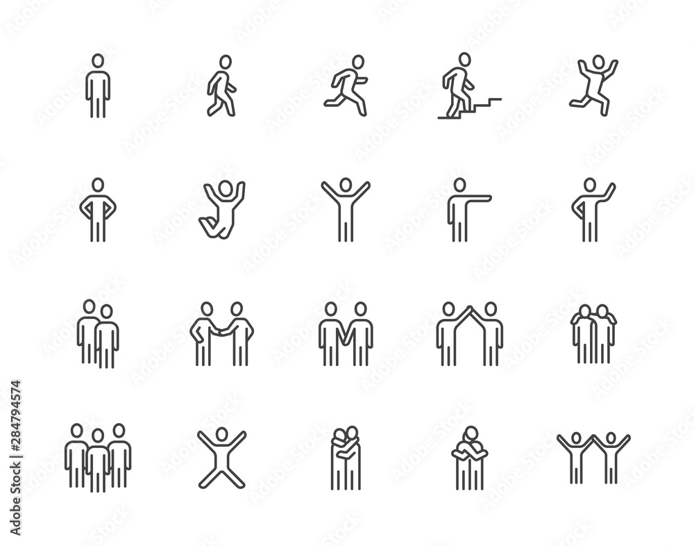 Fototapeta People flat line icons set. Person walking, running, jumping, climbing stairs, happy man, company leader, friends hugs vector illustrations. Human outline signs. Pixel perfect 64x64. Editable Strokes