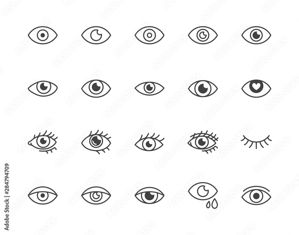 Fototapeta Eye flat line icons set. Tired eyes, vision, eyesight, makeup simple vector illustrations. Outline signs for visibility concept, optometrist clinic. Pixel perfect 64x64. Editable Strokes