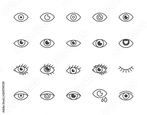 Obraz Eye flat line icons set. Tired eyes, vision, eyesight, makeup simple vector illustrations. Outline signs for visibility concept, optometrist clinic. Pixel perfect 64x64. Editable Strokes - fototapety do salonu
