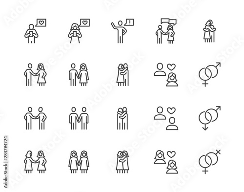 Relationship flat line icons set Wallpaper Mural