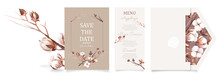Ready To Use Set Of Card And Envelope . Watercolor Wedding Invitation Design Template With Cotton Flower, Bud, And Branches. Floral Elements And Frame.