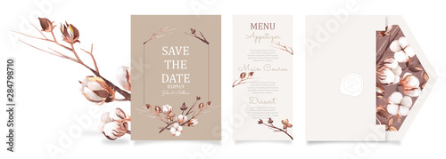 Obraz Ready to use set of card and envelope . Watercolor wedding invitation design template with cotton flower, bud, and branches. floral elements and frame.  - fototapety do salonu