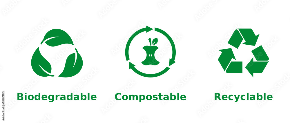 Fototapeta Biodegradable, compostable, recyclable icon set. Three green recycling symbols on white background. Zero waste,nature protection,eco friendly,sustainability concept.Vector illustration,flat,clip art.