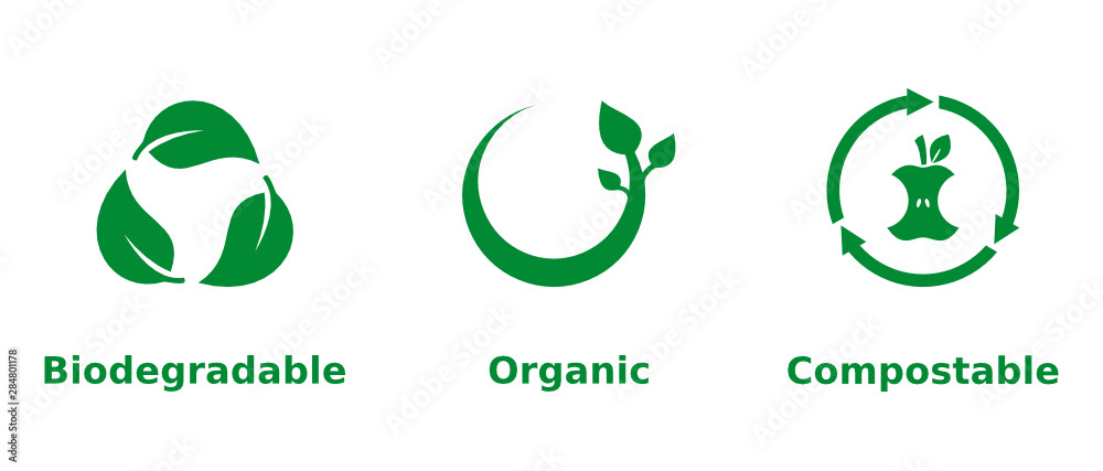 Fototapeta Biodegradable, organic, compostable icon set. Three green eco friendly signs on white background. Organic farming, environmental, healthy lifestyle, ecological, concept. Vector illustration,clip art.