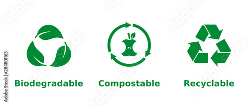 Obraz Biodegradable, compostable, recyclable icon set. Three green recycling symbols on white background. Zero waste,nature protection,eco friendly,sustainability concept.Vector illustration,flat,clip art.  - fototapety do salonu