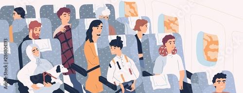 Photo Passengers inside airliner