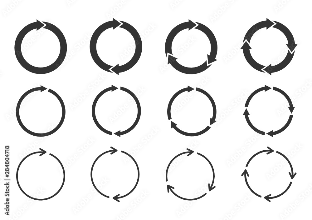 Fototapeta Set of circle arrows rotating on white background. Refresh, reload, recycle, loop rotation sign collection. Black circle arrows for infographics, web design. Vector illustration, flat style, clip art.