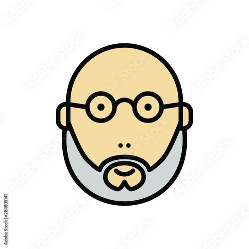 Fototapeta balded and bearded man using glasses