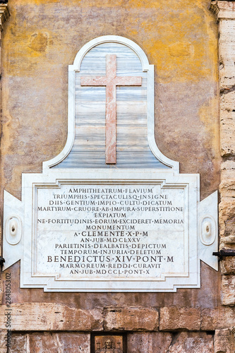 Fényképezés  Memorable inscription on the wall of the Colosseum Flavian Amphitheater