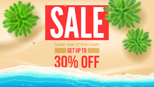 Sale, Get Up To 30 Percent Discount. Seashore With Green Palms On Yellow Sand On The Beach With Sea Surf. Vector Template, 3d Illustration