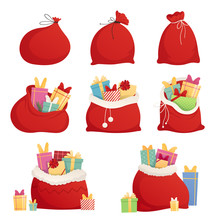 Set Full Bag Of Gifts From Santa Claus. Christmas Decorative Element. Flat Vector Illustration