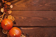 canvas print picture - Thanksgiving autumn wooden background with fresh pumpkins