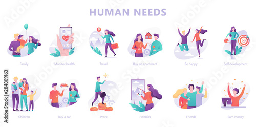 Pinturas sobre lienzo  Human needs set. Personal development and self-esteem