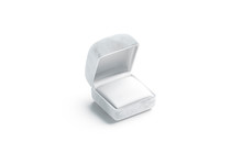 Blank White Opened Ring Box Mockup, Side View, 3d Rendering. Empty Velvet Case With Pad Mock Up, Isolated. Clear Pack For Wedding Accessory. Compact Classic Package For Jewelry Template.