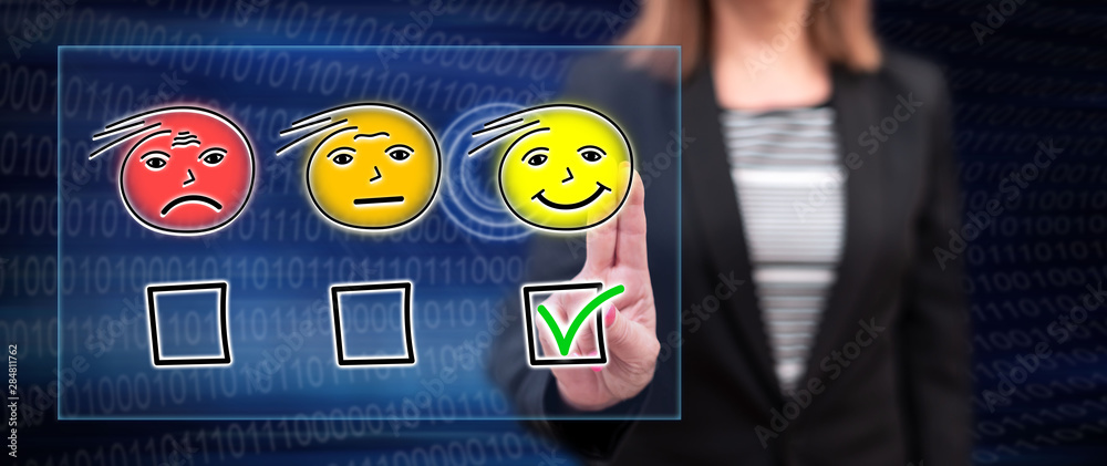 Woman touching an evaluation concept