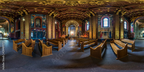 Obraz Full spherical seamless hdri panorama 360 degrees inside interior of old Armenian church in equirectangular projection, VR AR content with zenith. VR content - fototapety do salonu