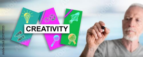 Obraz Man drawing creativity concept - fototapety do salonu