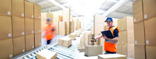 Workers In A Goods Warehouse - Storage And Transport Of Goods By Mail Order
