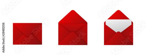 Fotografía  Red envelopes on white background. Vector illustration.