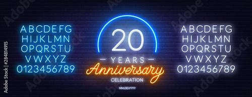 20 anniversary celebration neon sign on dark background Canvas Print