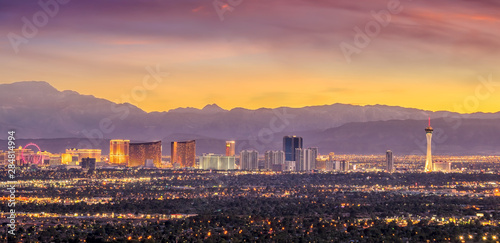 Panorama cityscape view of Las Vegas at sunset in Nevada - 284814994