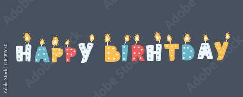 Candles happy birthday. Canvas Print