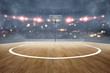 Basketball court with wooden floor and spotlights