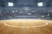 Basketball Court With Wooden F...
