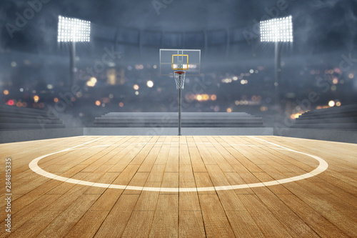 Fotomural  Basketball court with wooden floor, lights reflectors, and tribune