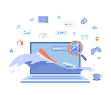 Internet Surfing, Online Research. Business, News, Social Networking, Search, Education, Video, Games. Surfboard, Waves, Magnifying Glass On The Laptop Screen. Vector Illustration On White Background.