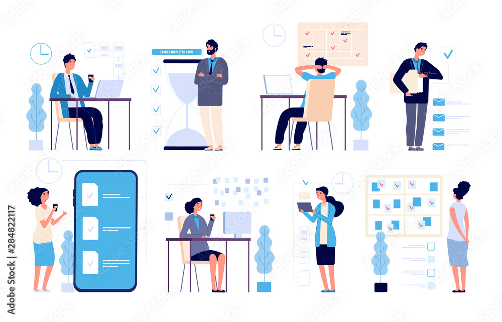 Fototapeta Effective time management. Man managed tasks, planning strategy organized activities schedule isolated vector characters. Illustration management business, schedule strategy calendar