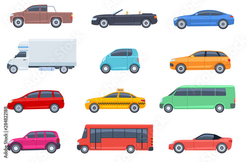 Fototapeta Flat cars set. Taxi and minivan, cabriolet and pickup. Bus and suv, truck. Urban, city cars and vehicles transport vector flat icons. Cabriolet and truck, car and bus, automobile pickup illustration obraz